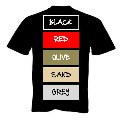 Choice of T Shirt Colours Available
